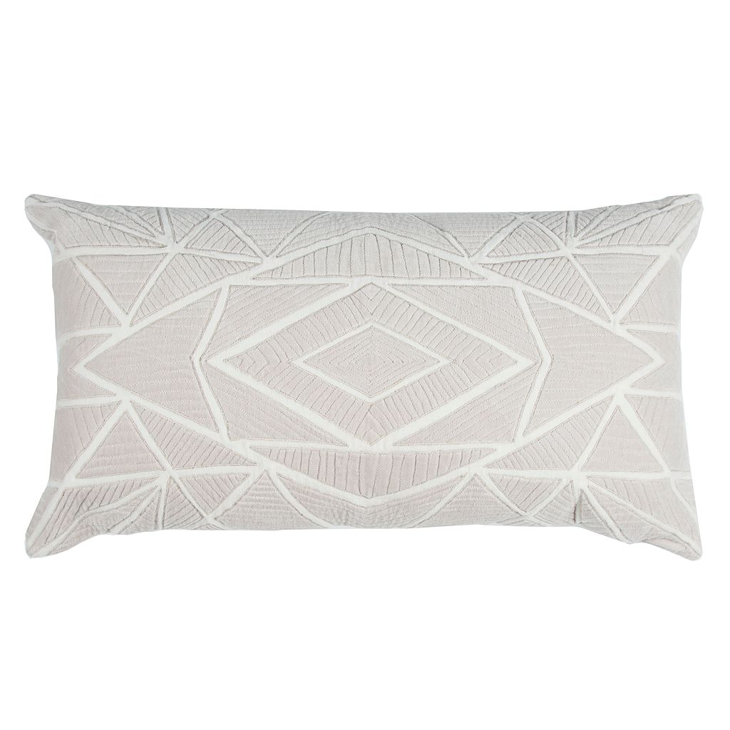 Rizzy Home Geometric Velvet Applique Oblong Throw Pillow