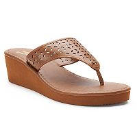 Dana Buchman Perforated Hood Thong Wedge Sandals