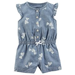 Baby Girl Carter's Heart Print Chambray Romper