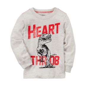 "Baby Boy Carter's Dinosaur ""Heart Throb"" Long Sleeve Graphic Tee"