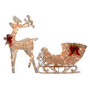 National Tree Company Light-Up Reindeer & Sled Indoor / Outdoor Decor