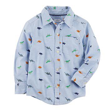 Baby Boy Carter's Chambray Dinosaurs Button Down Shirt
