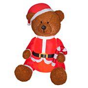 National Tree Company 53 in Inflatable Santa Teddy Bear Indoor / Outdoor Christmas Decor