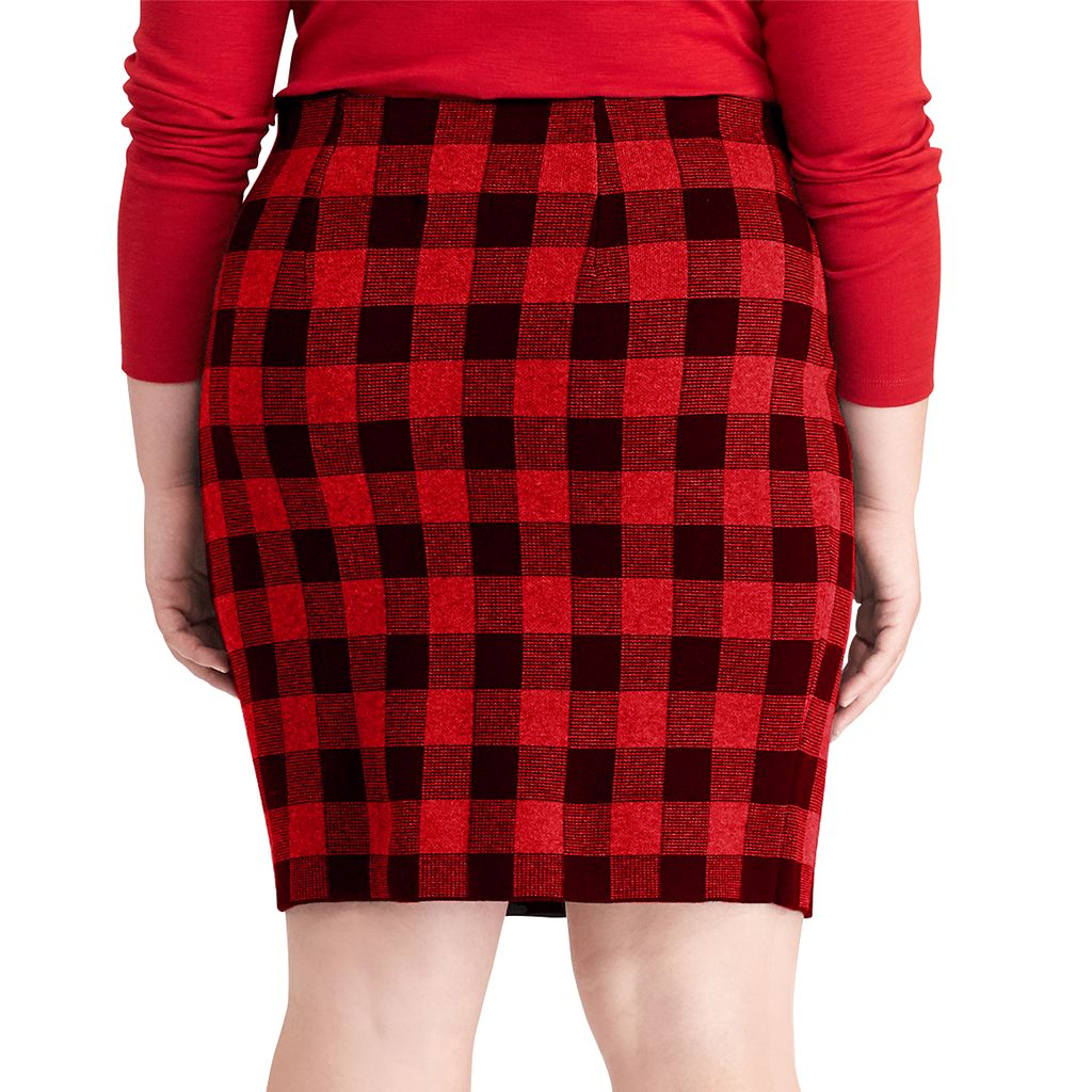 Plus Size Chaps Buffalo Check Pencil Skirt