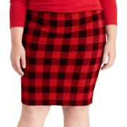 Plus Size Chaps Buffalo Check Pencil Skirt
