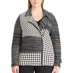 Plus Size Chaps Printed Sweater Jacket