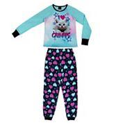 Girls 4-16 Jellifish 2 pc Puppy & Emoji Graphic Pajama Set