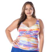 Plus Size Chaps Tie-Dye Twisted Tankini Top
