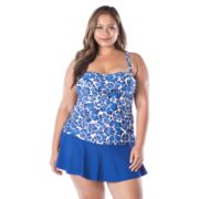 Plus Size Chaps Twist-Front Floral Tankini Top