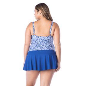 Plus Size Chaps Twist-Front Floral Tankini Top