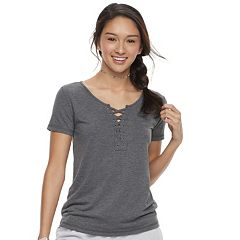 Juniors' SO® Short Sleeve Lace-Up Tee