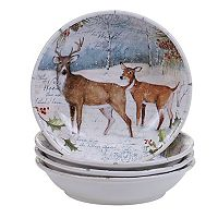 Certified International Winter Lodge 4 pc Soup / Pasta Bowl Set