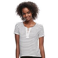 Juniors' SO® Striped Lace-Up Tee