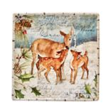 Certified International Winter Lodge Doe Family Square Platter