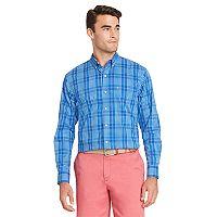 Men's IZOD Classic-Fit Essential Plaid Woven Button-Down Shirt