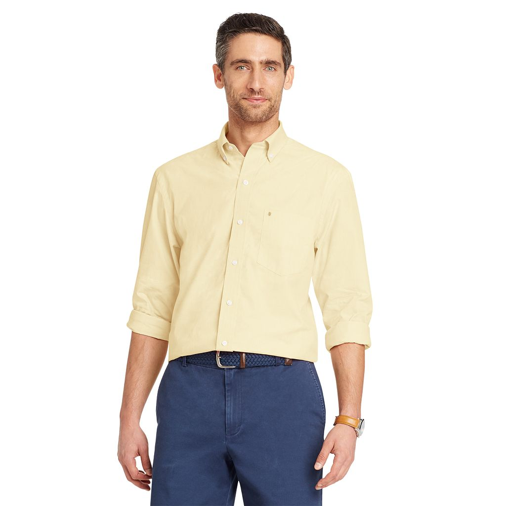 Men's IZOD Classic-Fit Essential Solid Woven Button-Down Shirt