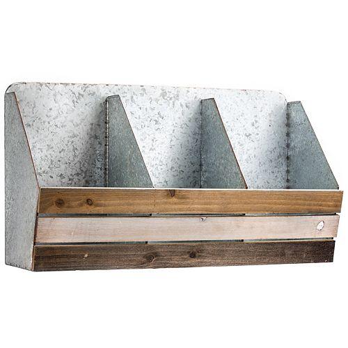 Rustic Wood & Metal Storage Wall Decor