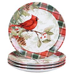 Certified International Winter Field Notes Cardinal 4-pc. Dinner Plate Set
