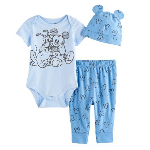 Disney's Mickey & Pluto Bodysuit, Pants, & Hat Set by Jumping Beans®