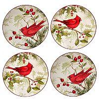 Certified International Winter Field Notes Cardinal 4 pc Dessert Plate Set