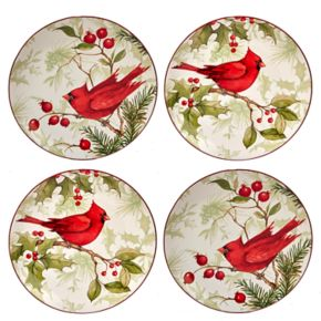 Certified International Winter Field Notes Cardinal 4-pc. Dessert Plate Set