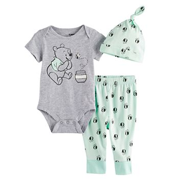 197430e40 Disney's Winnie the Pooh Baby Bodysuit, Pants & Hat Set by Jumping Beans®