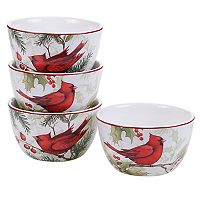 Certified International Winter Field Notes Cardinal 4 pc Ice Cream Bowl Set