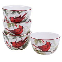 Certified International Winter Field Notes Cardinal 4-pc. Ice Cream Bowl Set