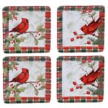 Certified International Winter Field Notes Cardinal 4-pc. Canape Plate Set