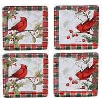 Certified International Winter Field Notes Cardinal 4 pc Canape Plate Set