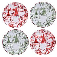 Certified International Winter Field Notes Toile 4-pc. Dessert Plate Set