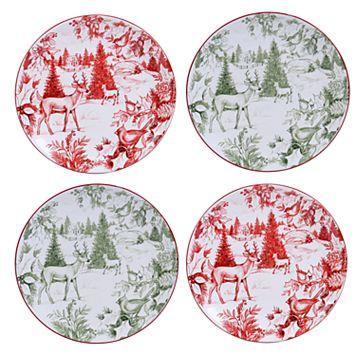 Certified International Winter Field Notes Toile 4-pc. Dessert Plate Set