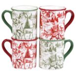Certified International Winter Field Notes Toile 4 pc Mug Set