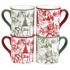 Certified International Winter Field Notes Toile 4-pc. Mug Set