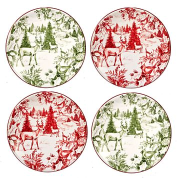 Certified International Winter Field Notes Toile 4-pc. Canape Plate Set