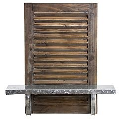 Rustic Farmhouse Wood & Metal Wall Shelf