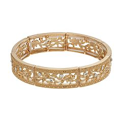 LC Lauren Conrad Textured Openwork Flower Stretch Bracelet