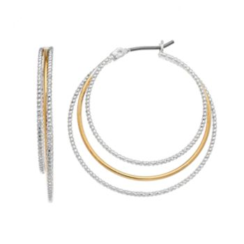 Napier Two Tone Textured Triple Hoop Earrings