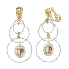 Napier Two Tone Orbital Drop Earrings