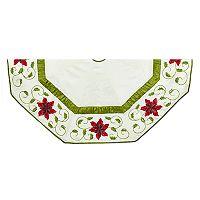 Kurt Adler Ivory Poinsettia Christmas Tree Skirt