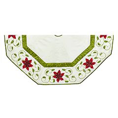 Kurt Adler Ivory Poinsettia Christmas Tree Skirt