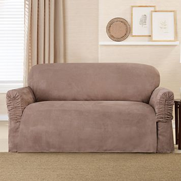 Sure Fit Faux Suede Ruffle Arm Loveseat Slipcover