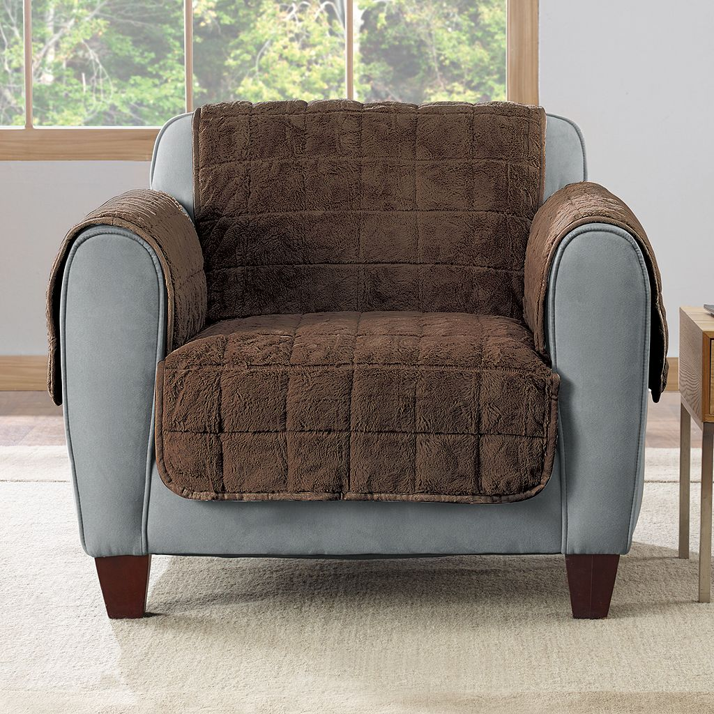 Sure Fit Faux Fur Quilted Chair Slipcover