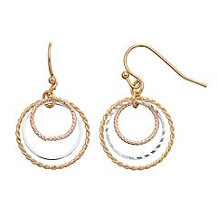 LC Lauren Conrad Tri Tone Textured Circle Nickel Free Drop Earrings