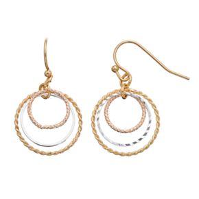 LC Lauren Conrad Tri Tone Textured Circle Nickel Free Drop Earrings