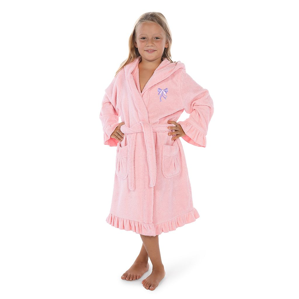 Kids Linum Home Textiles Two-Tone Terry Ruffled Hooded Bathrobe