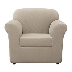 Sure Fit Stretch Lattice 2-piece Chair Slipcover