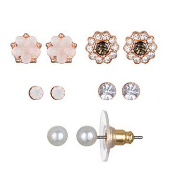 LC Lauren Conrad Floral Nickel Free Stud Earring Set