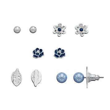 LC Lauren Conrad Flower & Leaf Nickel Free Stud Earring Set