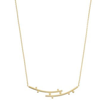 14k Gold Curved Bar Bypass Necklace